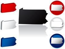 Estado de ícones de Pensilvânia Imagens de Stock