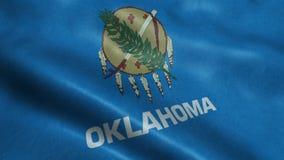 Estado de animação de ondulação dando laços sem emenda da bandeira de Oklahoma filme