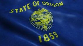 Estado de animação de ondulação dando laços sem emenda da bandeira de Oregon filme