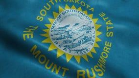 Estado de animação de ondulação dando laços sem emenda da bandeira de South Dakota vídeos de arquivo