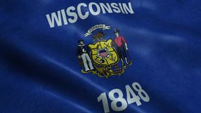 Estado de animação de ondulação dando laços sem emenda da bandeira de Wisconsin vídeos de arquivo