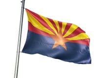 Estado de Arizona de agitar de la bandera de Estados Unidos aislado en el ejemplo realista 3d del fondo blanco ilustración del vector