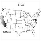 Estado de California en blanco Fotos de archivo