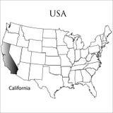 Estado de Califórnia no branco Fotos de Stock