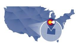Estado de Colorado ampliado no mapa do Estados Unidos ilustração royalty free