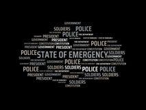 ESTADO DE EMERGENCIA - imagen con las palabras asociadas al ESTADO DE EMERGENCIA del tema, palabra, imagen, ejemplo Foto de archivo libre de regalías