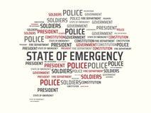 ESTADO DE EMERGENCIA - imagen con las palabras asociadas al ESTADO DE EMERGENCIA del tema, palabra, imagen, ejemplo Imagen de archivo