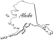 Estado de esboço de Alaska ilustração royalty free