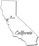 Estado de esboço de Califórnia ilustração stock