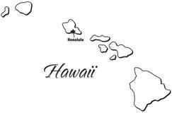 Estado de esboço de Havaí ilustração royalty free