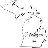 Estado de esboço de Michigan Fotos de Stock Royalty Free