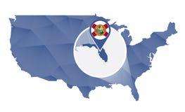Estado de Florida ampliado no mapa do Estados Unidos ilustração stock