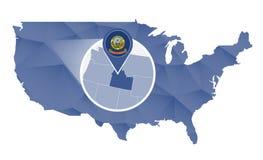 Estado de Idaho ampliado no mapa do Estados Unidos ilustração do vetor