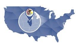 Estado de Illinois ampliado no mapa do Estados Unidos ilustração stock