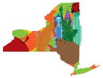 Estado de ilustração oficial do vetor dos símbolos do mapa de New York Fotos de Stock