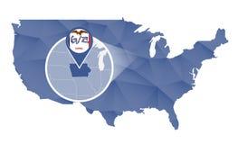 Estado de Iowa ampliado no mapa do Estados Unidos ilustração royalty free