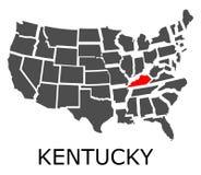 Estado de Kentucky en el mapa de los E.E.U.U. Foto de archivo libre de regalías