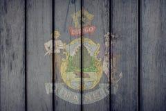 Estado de los E.E.U.U. Maine Flag Wooden Fence stock de ilustración