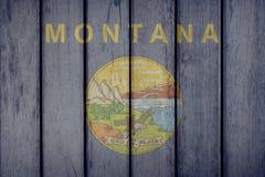 Estado de los E.E.U.U. Montana Flag Wooden Fence ilustración del vector