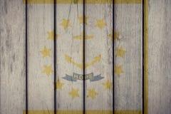 Estado de los E.E.U.U. Rhode Island Flag Wooden Fence stock de ilustración