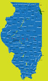 Estado de mapa político de Illinois Ilustração Stock