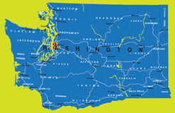 Estado de mapa político de Washington Imagem de Stock