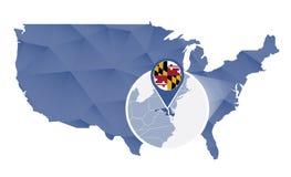 Estado de Maryland ampliado no mapa do Estados Unidos ilustração royalty free