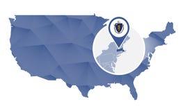 Estado de Massachusetts ampliado no mapa do Estados Unidos ilustração do vetor
