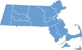 Estado de Massachusetts por condados Foto de Stock Royalty Free