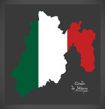 Estado de Mexico map with Mexican national flag illustration. In artwork style Royalty Free Stock Photo