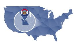 Estado de Missouri ampliado no mapa do Estados Unidos ilustração royalty free