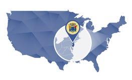 Estado de New-jersey ampliado no mapa do Estados Unidos ilustração do vetor