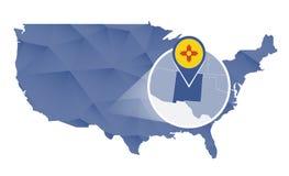 Estado de New mexico ampliado no mapa do Estados Unidos ilustração stock