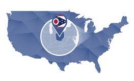 Estado de Ohio ampliado no mapa do Estados Unidos ilustração do vetor