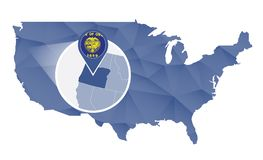 Estado de Oregon ampliado no mapa do Estados Unidos ilustração stock