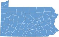Estado de Pensilvânia por condados Imagem de Stock