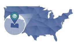 Estado de South Dakota ampliado no mapa do Estados Unidos ilustração do vetor
