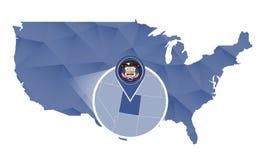 Estado de Utá ampliado no mapa do Estados Unidos ilustração royalty free