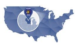 Estado de Wisconsin ampliado no mapa do Estados Unidos ilustração royalty free