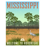 Estado del cartel o de la etiqueta engomada del viaje de Mississippi ilustración del vector