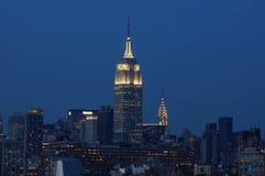 Estado do império que eleva-se sobre a construção de Chrysler fotografia de stock royalty free