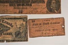 Estado do papel moeda de North Carolina velho 1866 fotos de stock royalty free