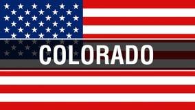 Estado em um fundo da bandeira dos EUA, de Colorado rendição 3D Bandeira de Estados Unidos da América que acena no vento Bandeira ilustração stock