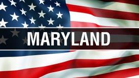 Estado em um fundo da bandeira dos EUA, de Maryland rendição 3D Bandeira de Estados Unidos da América que acena no vento Bandeira ilustração do vetor