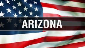 Estado em um fundo da bandeira dos EUA, do Arizona rendição 3D Bandeira de Estados Unidos da América que acena no vento Ondulação ilustração royalty free