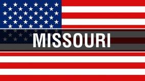 Estado en un fondo de la bandera de los E.E.U.U., de Missouri representación 3D Bandera de los Estados Unidos de América que agit libre illustration