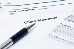 Estado financiero mensual Foto de archivo libre de regalías