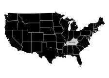 Estado Kentucky en mapa del territorio de los E.E.U.U. Fondo blanco Ilustración del vector libre illustration