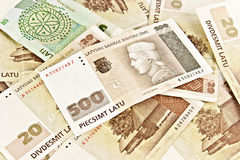 Estado letão cinco cem notas de banco dos lats. Foto de Stock