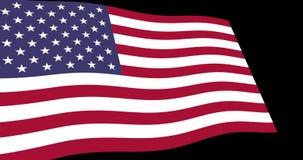 Estado unido de agitar lento de la bandera de América en la perspectiva, cantidad de la animación 4K stock de ilustración